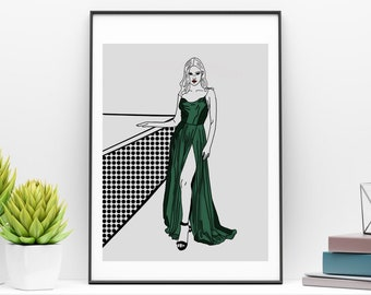 Fashion print, printable wall art, green dress, digital download