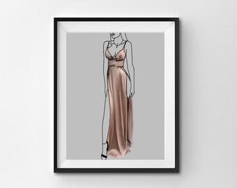 fashion print - pink dress - digital download