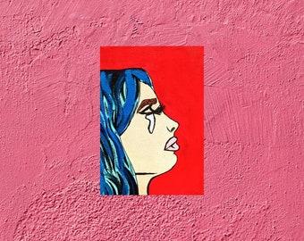 Pop art on canvas, woman, painting