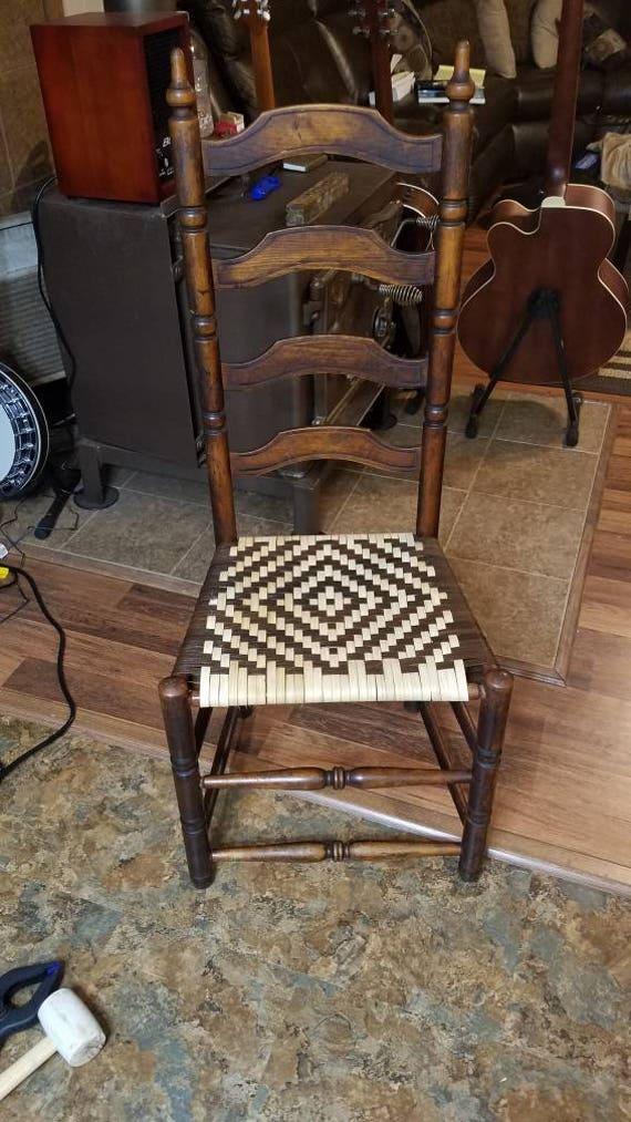 Description. Beautiful antique ladder back chair ... - Antique Ladder Back Chair With Custom Weaved Cane Bottom Etsy