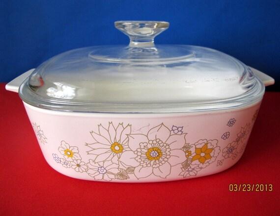 Vintage Corning Ware Floral Bouquet Pattern 2 Quart Casserole without Lid A-2-B