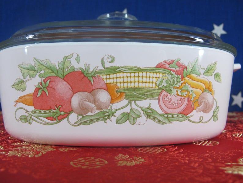 Corning Ware A-2-B Garden Harvest Skillet Casserole Baking Dish 2 Liter L Quart QT Pyrex A-9-C LID