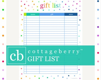 Wish List Christmas List Gift List Printable Gift List | Etsy