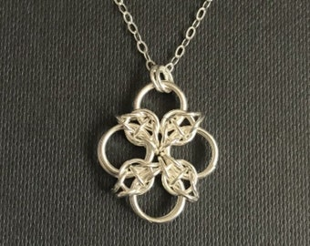 Celtic Cross Sterling Silver chainmaille necklace