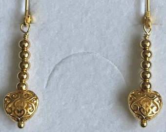 Sterling Silver heart filigree lever back beaded gold plated earrings