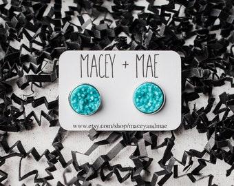 12mm Light Blue Druzy, Druzy Earrings, Faux Druzy Earrings, Light Blue Faux Druzy, 12mm Faux Druzy Earrings, Druzy, Blue Earrings, Druzy
