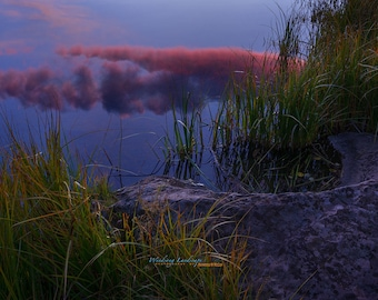 SLIPPING AWAY, Fine Art Photography, Colorado, Color, Sunset, lake,