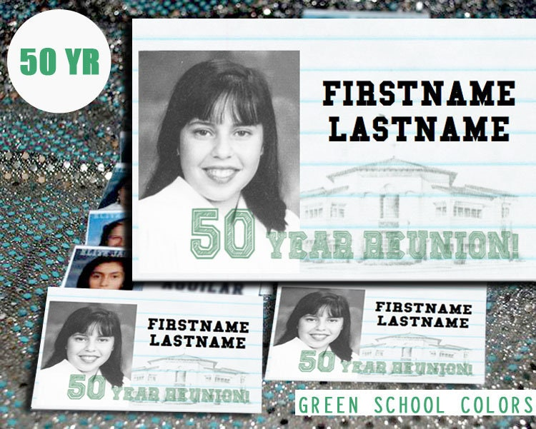 50 Year (GREEN) DIGITAL DOWNLOAD - High School Reunion - Name Tag Template