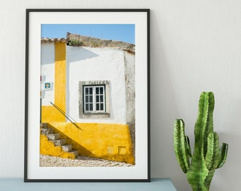 Yellow Portugal Photo Print - Yellow House in Obidos, Portugal - Travel Photography - Mustard Yellow Wall Decor - Colorful Art Print
