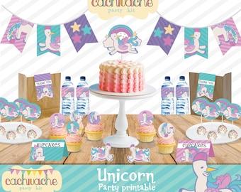 d1680f747 Unicorn party printable, Instant download party decorations in HD - Kit  imprimible de fiesta de unicornios, Listo para imprimir. - Party kit