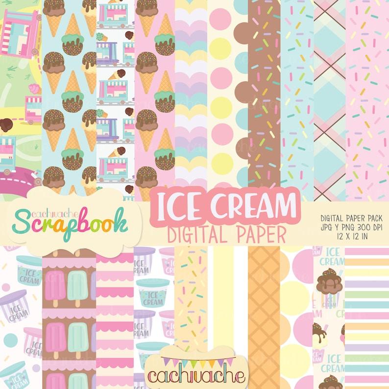 Ice cream digital paper pack ice cream clipart in 20 colorful image 0