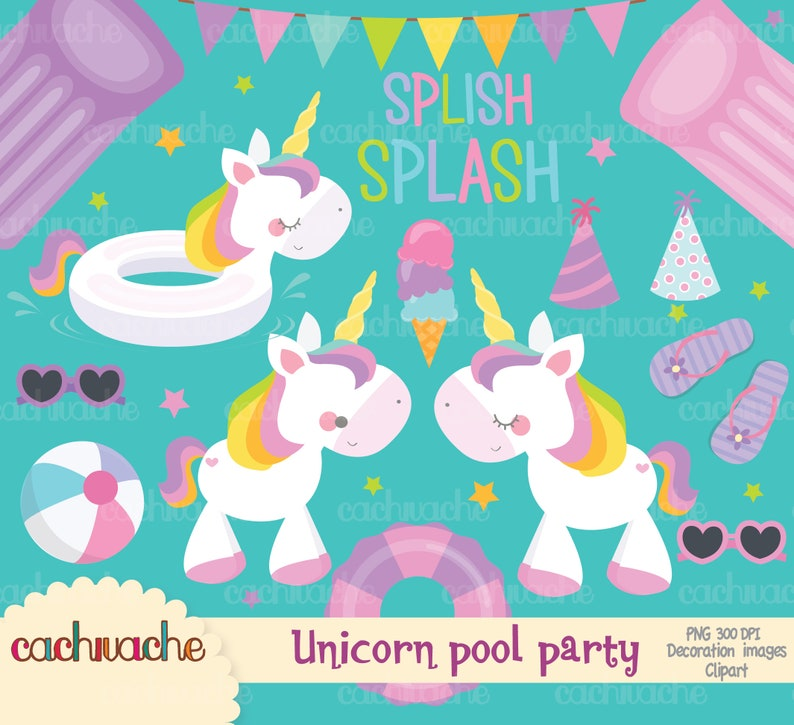 Super Pack Pool Party Unicorns Clipart Png Instant Download Etsy