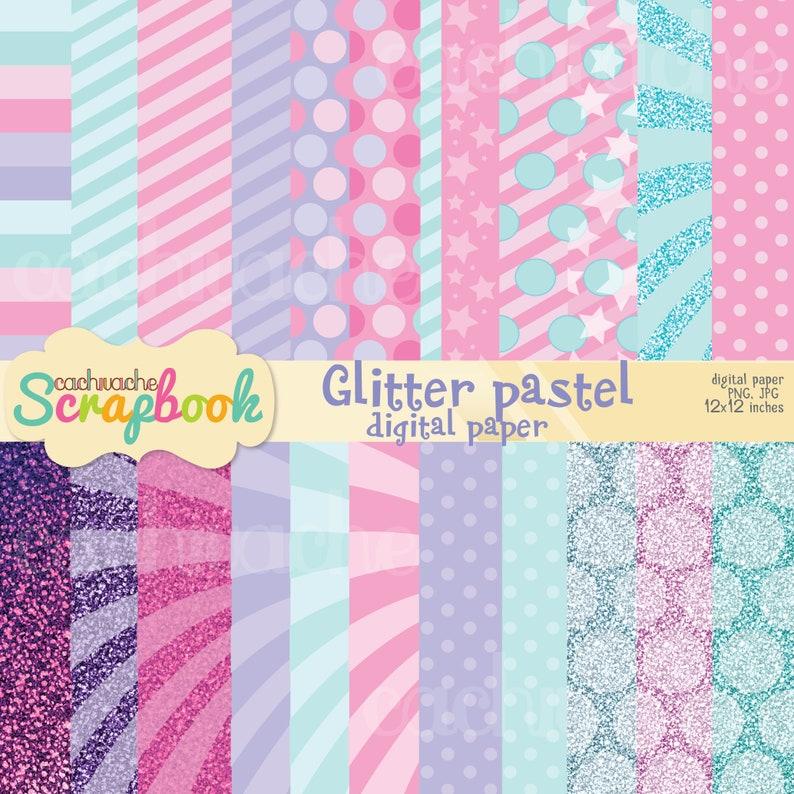 Glitter digital paper Pastel glitter digital paper Pastel image 0