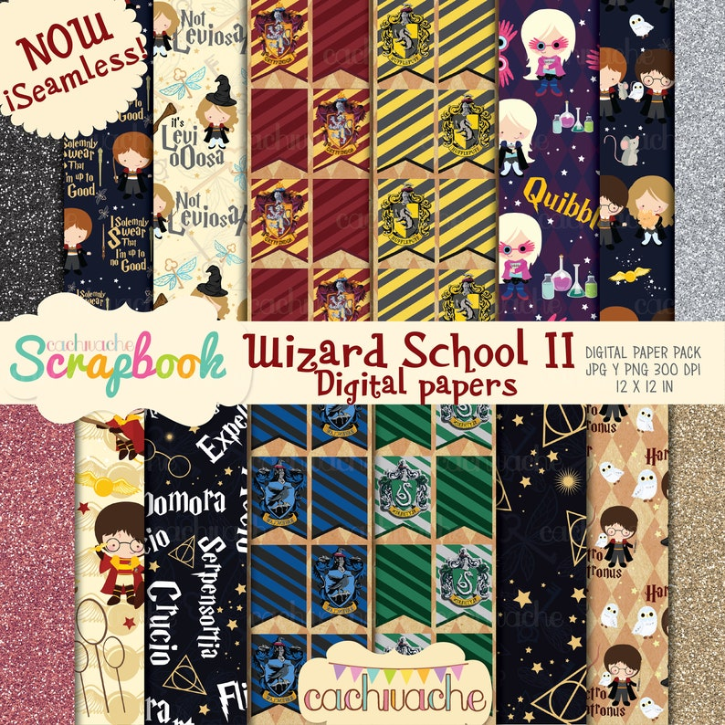Wizard school of magic digital papers II now seamless image 0