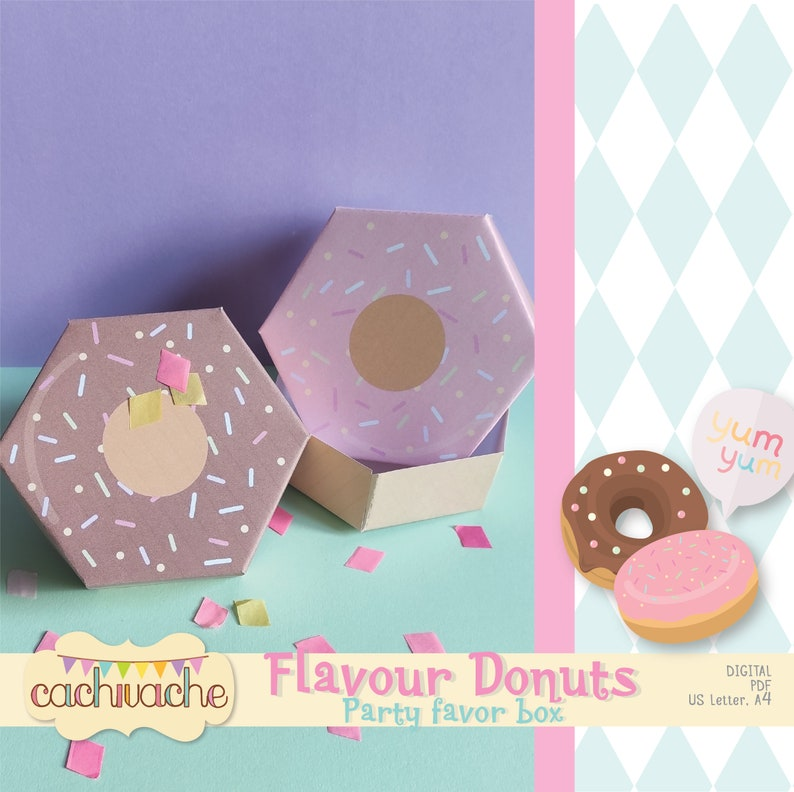 Donut box Donut party favor box party favor digital box image 0