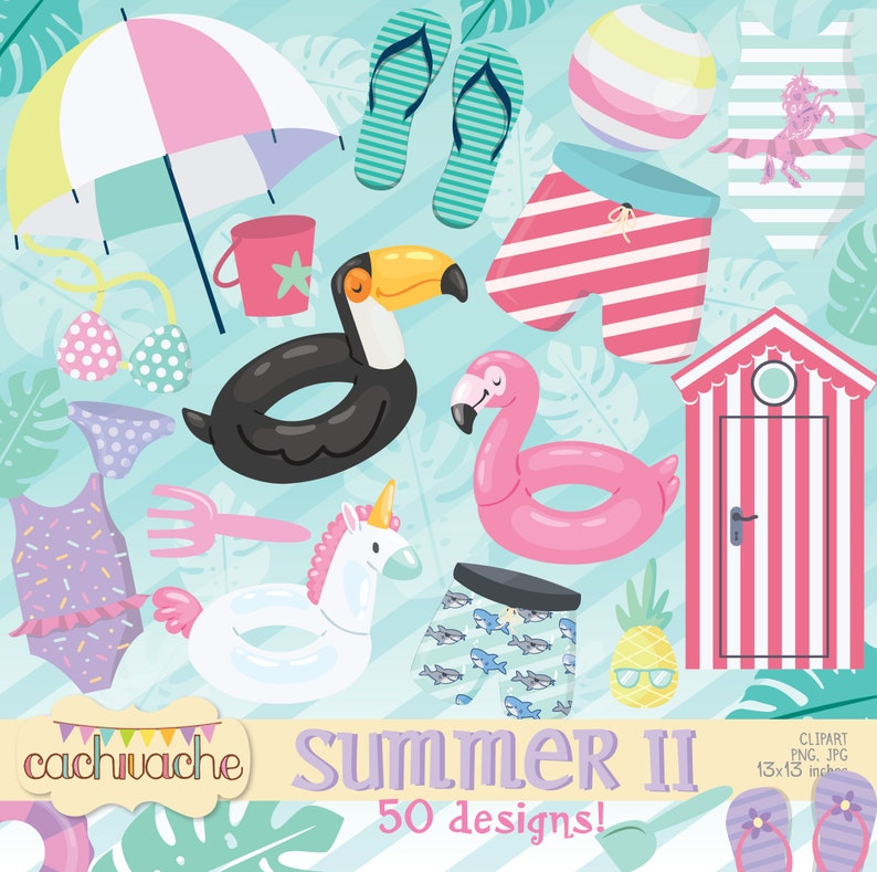Summer clipart pool party clipart 50 summer designs to image 0
