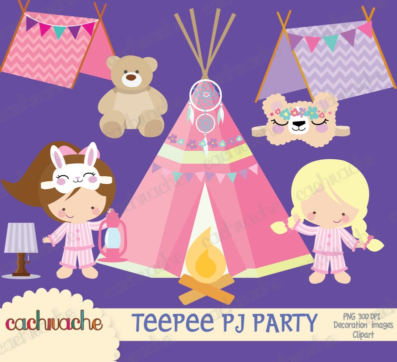 5fdcc26f6d Teepee pijama party clipart PNG   JPG instant download