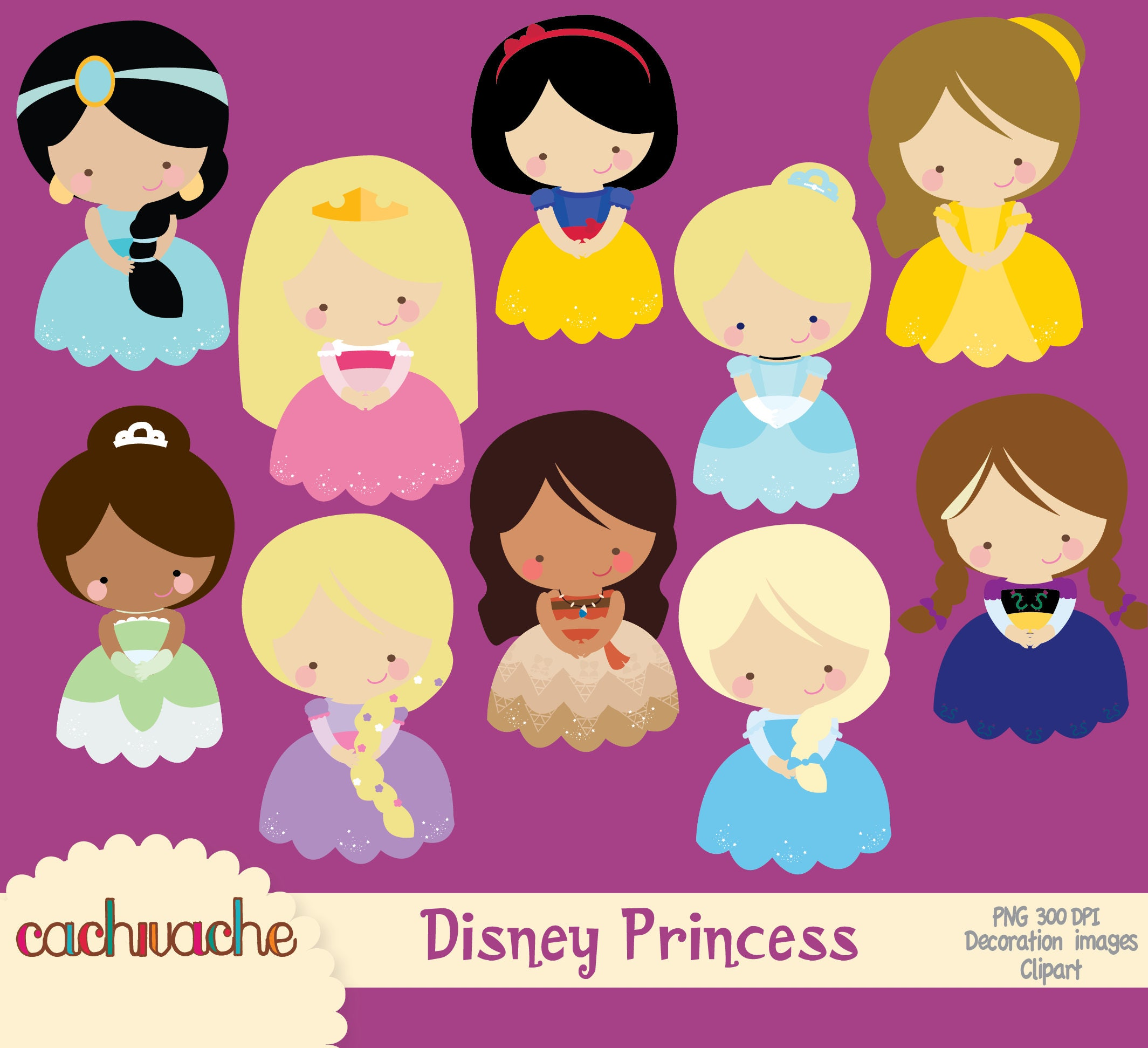 Disney princess clipart Jasmine Aurora Snow white