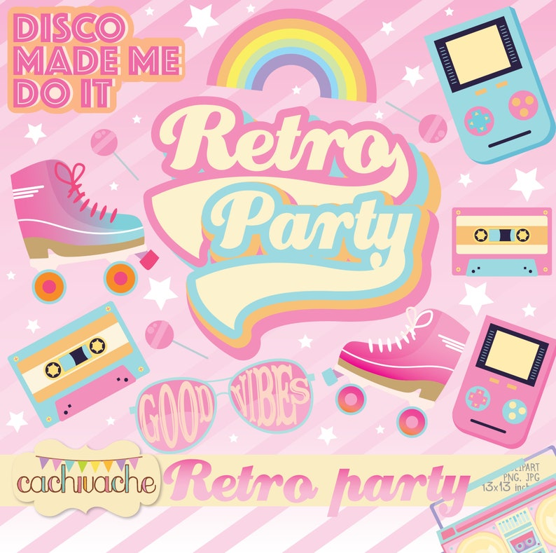 Retro party clipart roller party clipart roller clipart 80s image 0