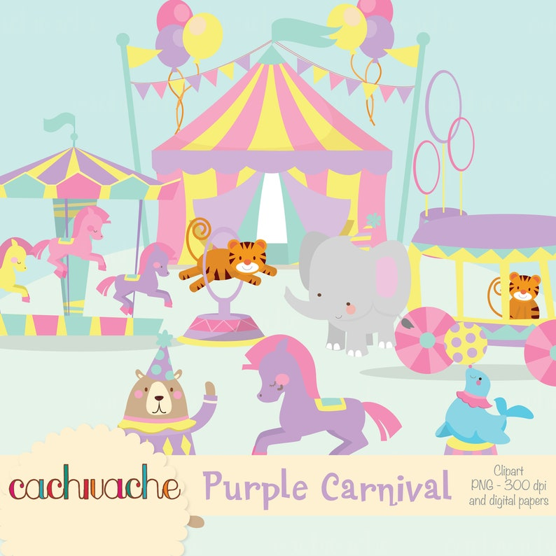 Circus clipart carnival clipart pink and purple cute circus image 0
