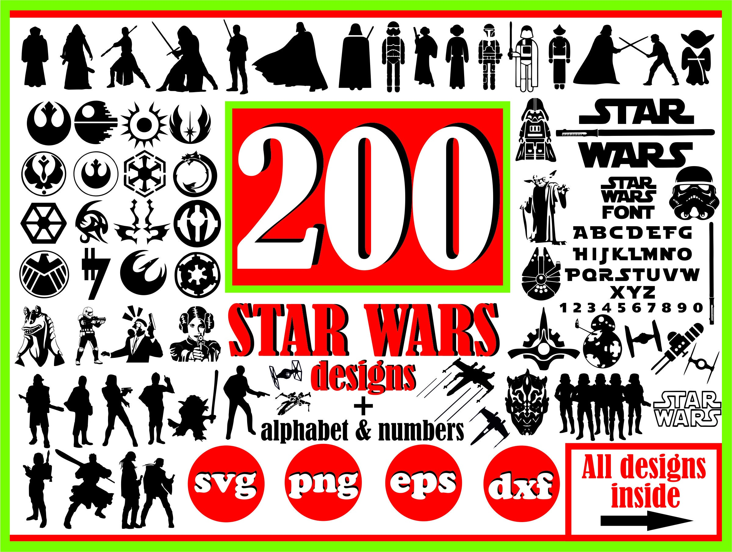 Star Wars Svg File For Cricut Bundle Disney Svg Star Wars Etsy