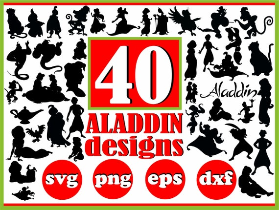 Aladdin Svg Eps Dxf Png Aladdin Vector Aladdin Silhouette Etsy