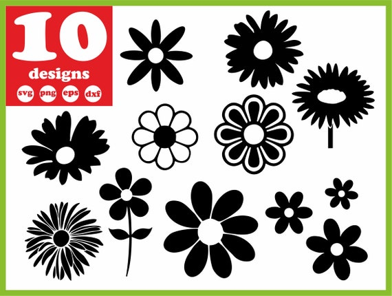 Daisy Svg File Flower Vector Leaves Decal For Cricut Garden Etsy