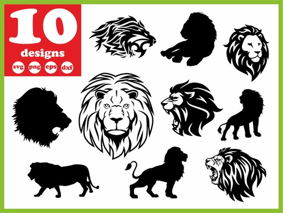 Lion Svg File Wildlife Digital Zoo Download Head Silhouette Etsy