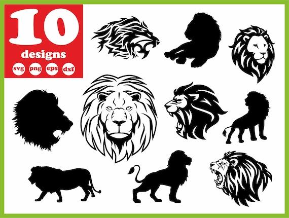 Lion Svg File Wildlife Digital Zoo Download Head Silhouette Etsy