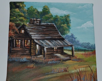 Country Log Cabin Landscape 4x4 Hand-painted Acrylic on Canvas