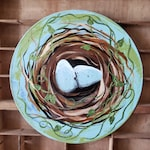 33 RPM Vinyl Record Hand Painted Bird Nest Eggs Twigs Nesting Glitter Accents Nature Natural Leaves Aqua Green Brown Repurpose Upcycle