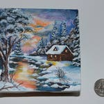 4x4 Snowy Winter Log Cabin Stream Hand-painted Acrylic on Canvas Sunset Landscape Trees Pine Trees Cottage Reflection