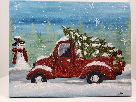 Old Truck With Christmas Tree Painting.11x14 Winter Holiday Red Truck Wreath Christmas Tree Hand Painted Acrylic Canvas Red Green Glitter Snow Rustic Snowman Old Vintage Retro