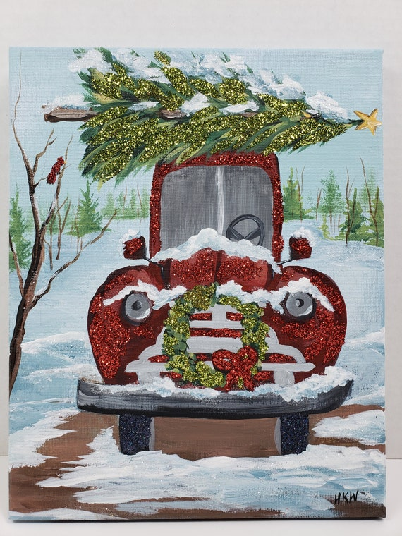 Old Truck With Christmas Tree Painting.8x10 Winter Red Truck Wreath Christmas Tree Hand Painted Acrylic Canvas Red Green Glitter Snow Rustic Cardinal Pine Trees Old Vintage Retro