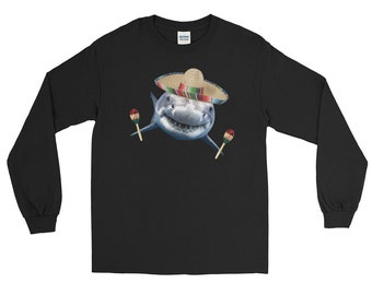 Cinco de Mayo Mexican Sombrero Maracas Mexico Party Shark Long Sleeve T-Shirt