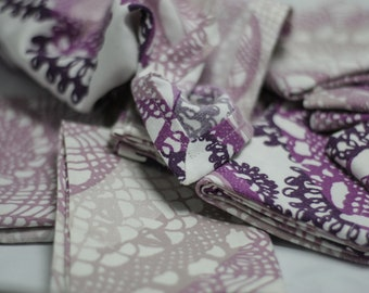 8 Zero Waste Cloth Napkins - Purple/White Batik Pattern Cloth Napkins, Recycled Textile, Sustainable Green Home Gift for All