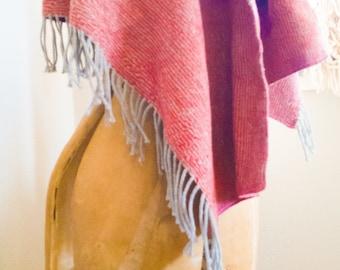 Upcycled Blanket Scarf - Reclaimed Wool Blanket Shawl, Lap Throw, Wool Wrap
