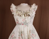 romantic ivory floral lace dress, short retro vintage shabby chic cottage dress, recycled fabric dress