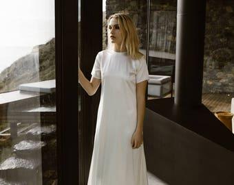 T-Shirt Wedding Dress Silk Satin Modern Bridal Gown by Australian L'eto Bridal - Piece 5