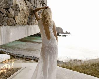 Modern Plunged V Back  Embroidered Chiffon Wedding Dress Bridal Gown by Australian L'eto Bridal - Piece 4