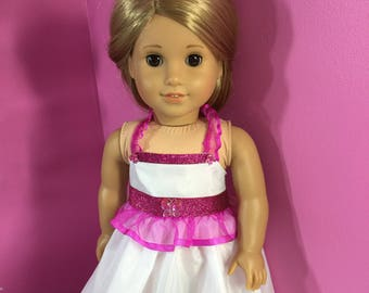Stunning Formal White and Pink Dress for 18 inch Dolls