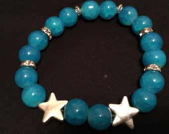 Aquamarine beaded elastic bracelet