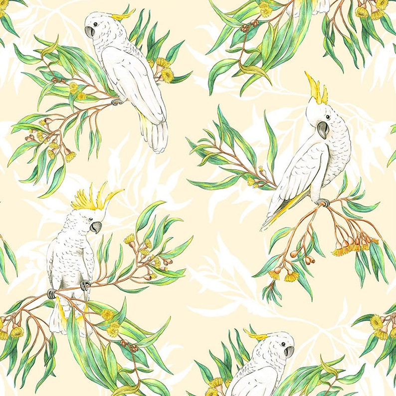 bc77ed99d615 AUSTRALIANA Gumtree Friends Cockatoos on Cream Allover Fabric | Etsy