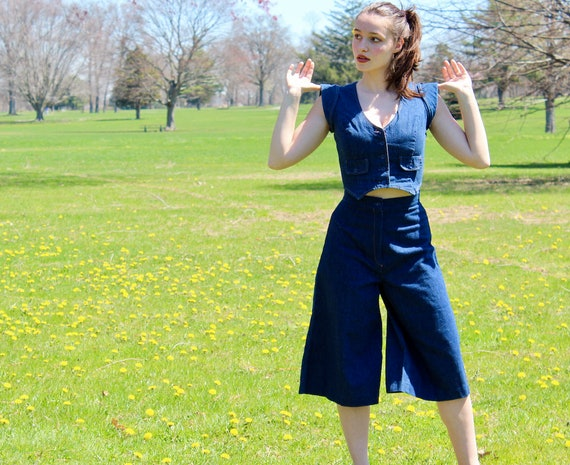 Vintage 1960s Denim Culottes and Jacket Two-Piece… - image 2