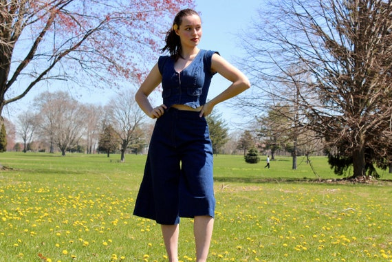 Vintage 1960s Denim Culottes and Jacket Two-Piece… - image 1