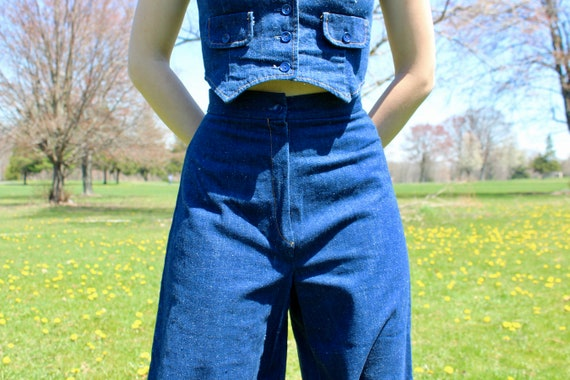 Vintage 1960s Denim Culottes and Jacket Two-Piece… - image 8
