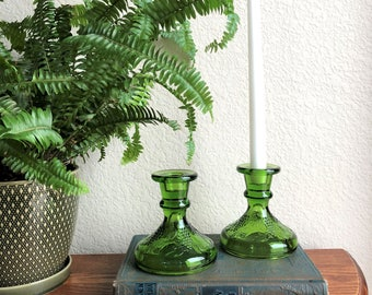 green glass candlestick holders / green glassware / vintage green grape and leaf design