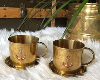nautical brass mug set with copper anchor
