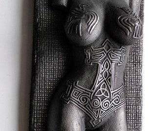 Viking Norse Female Valkyrie Nude Torso Tattoo Odin Raven Mjolnir Iron  Sculpture Relief Plaque Wall Art