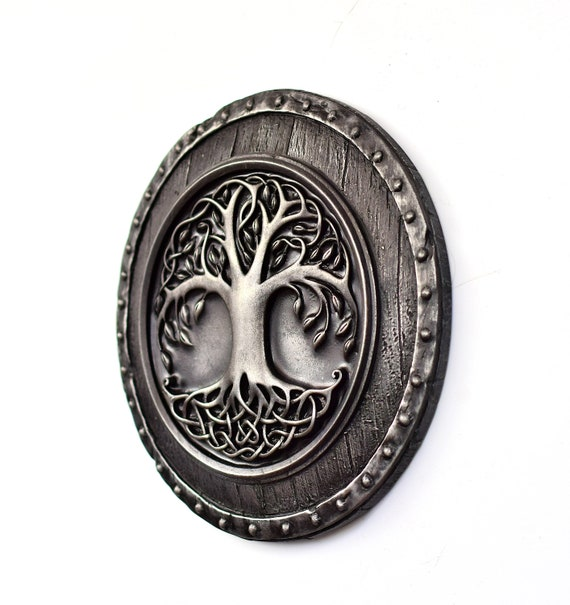 Tree Slice XXL approx 43cm Viking Walhalla Sword Slogan Sign Gift Wood